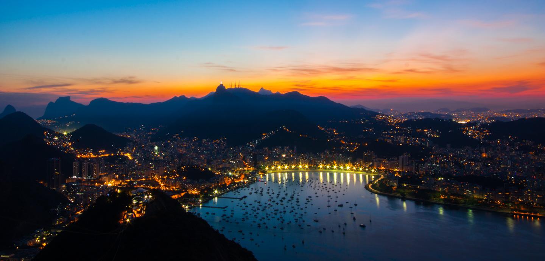 Solnedgang fra Sukkertoppen i Rio de Janeiro