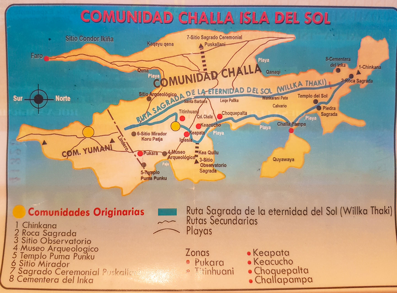 Kart over Isla del Sol