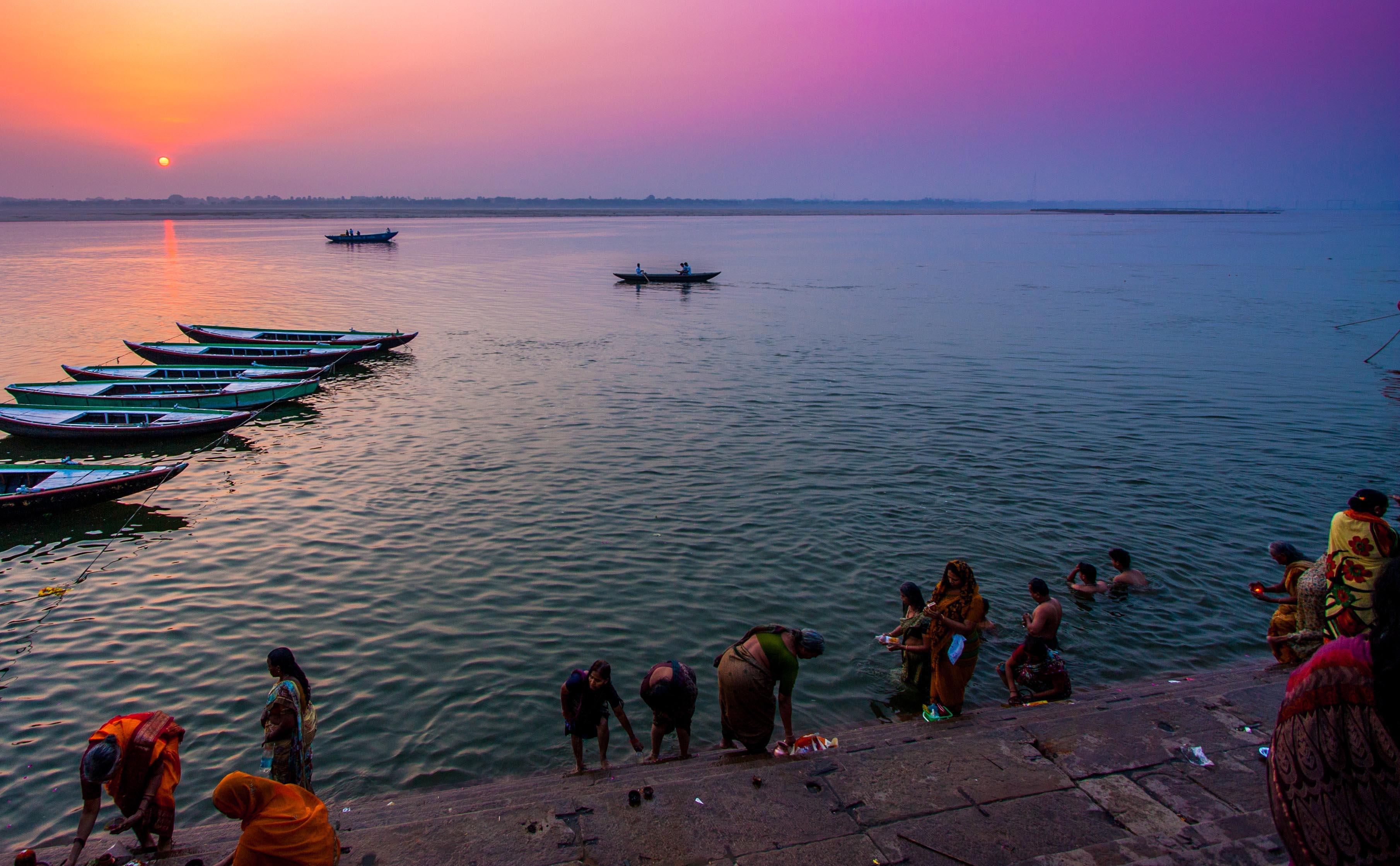 Varanasi og Ganges soloppgang