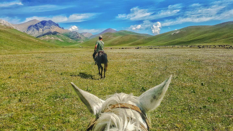 Hesteridning ved Song Kul i Kirgisistan