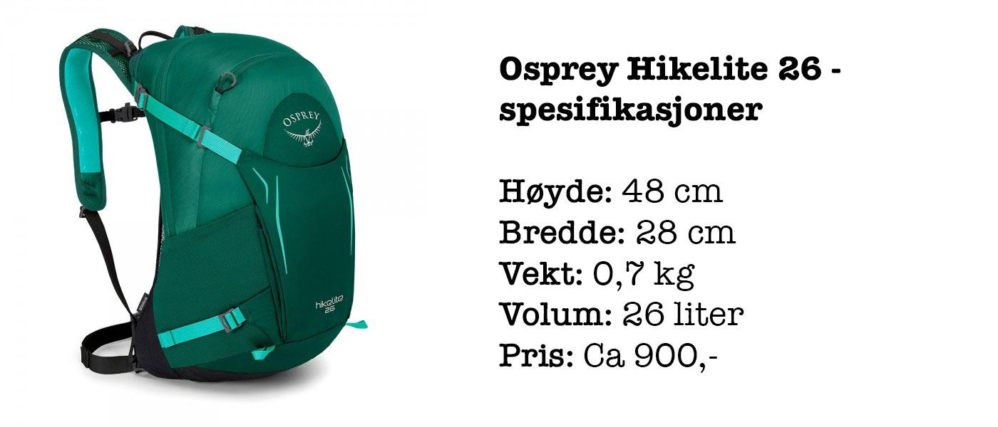 Osprey Hikelite 26 spesifikasjoner