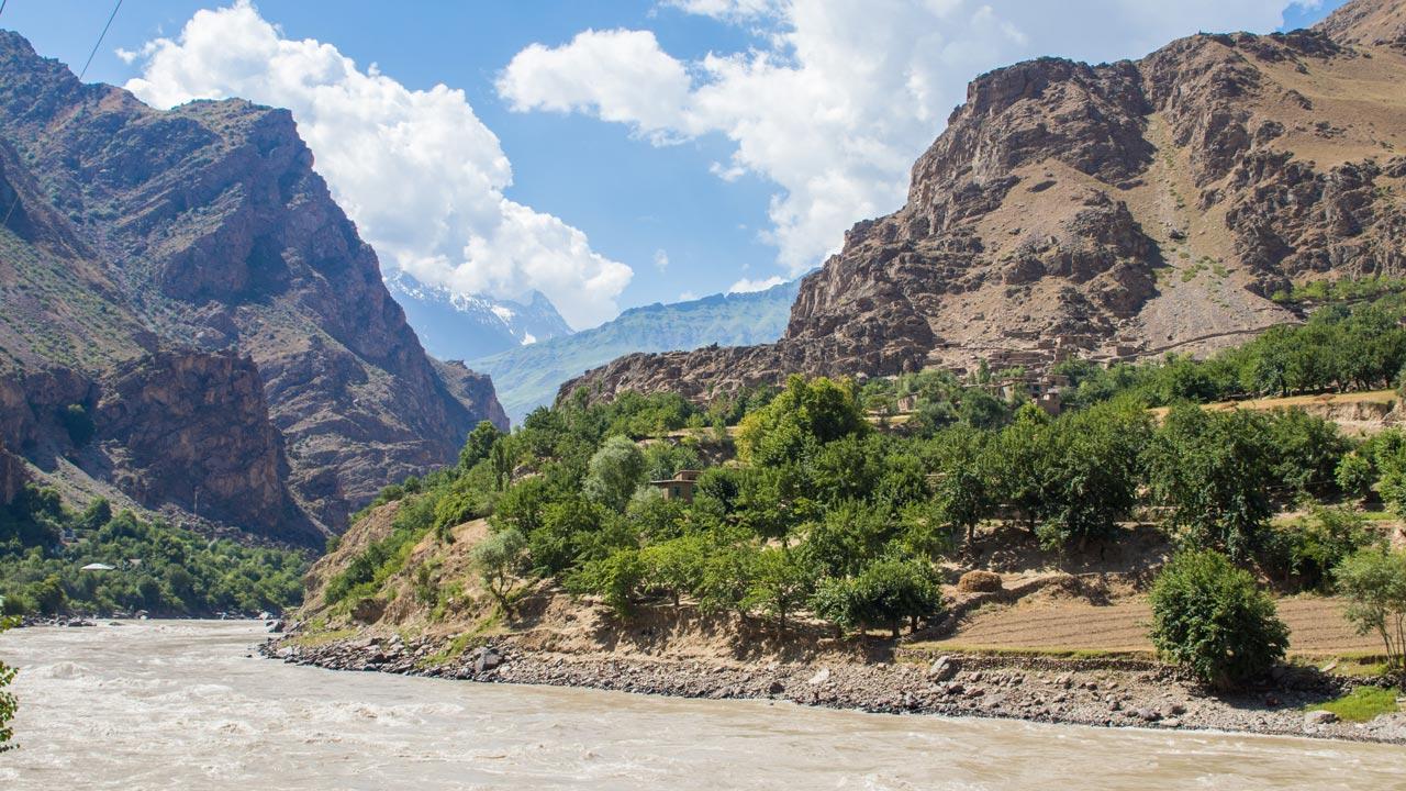 Den afghanske siden av Panj-elven, Pamir Highway Tadsjikistan