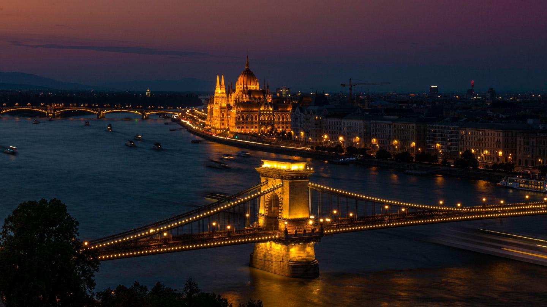 Solnedgang fra Buda slott i Budapest
