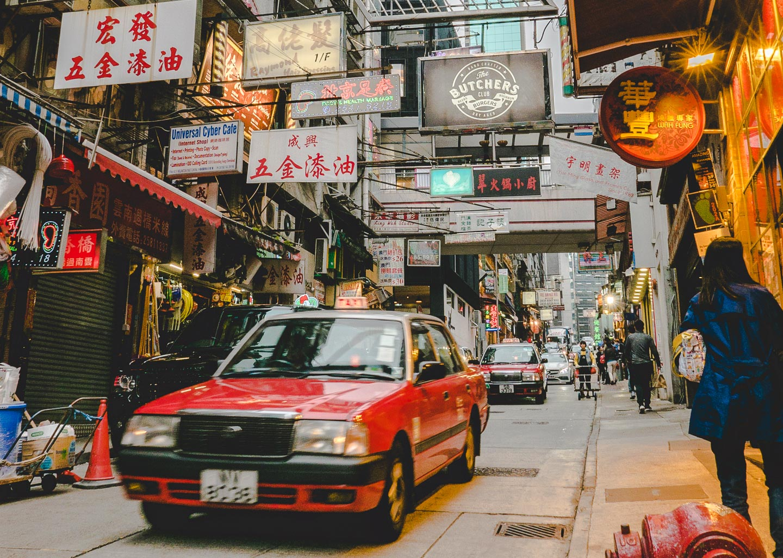 Taxi i Hong Kong.