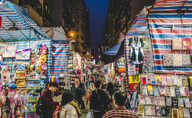 Ladie's Market i Mong Kok, Hong Kong.