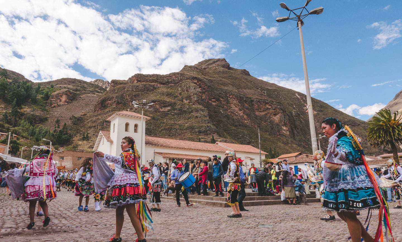 Markedet i Písac i Den hellige dalen ved Cusco i Peru.