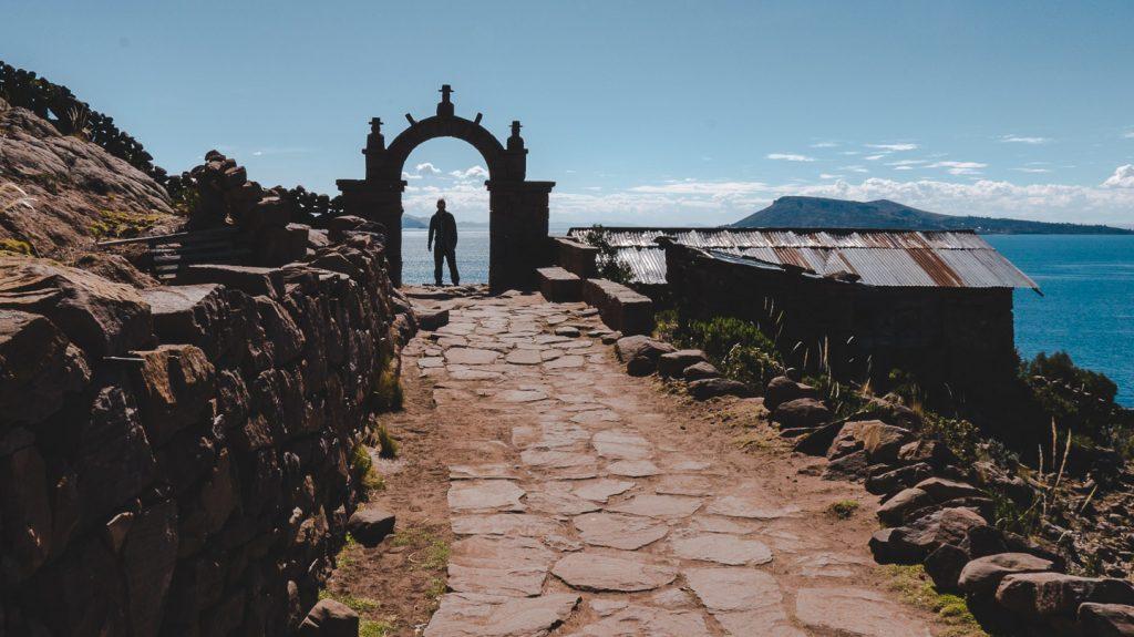 Isla Taquile i Titicacasjøen i Peru.